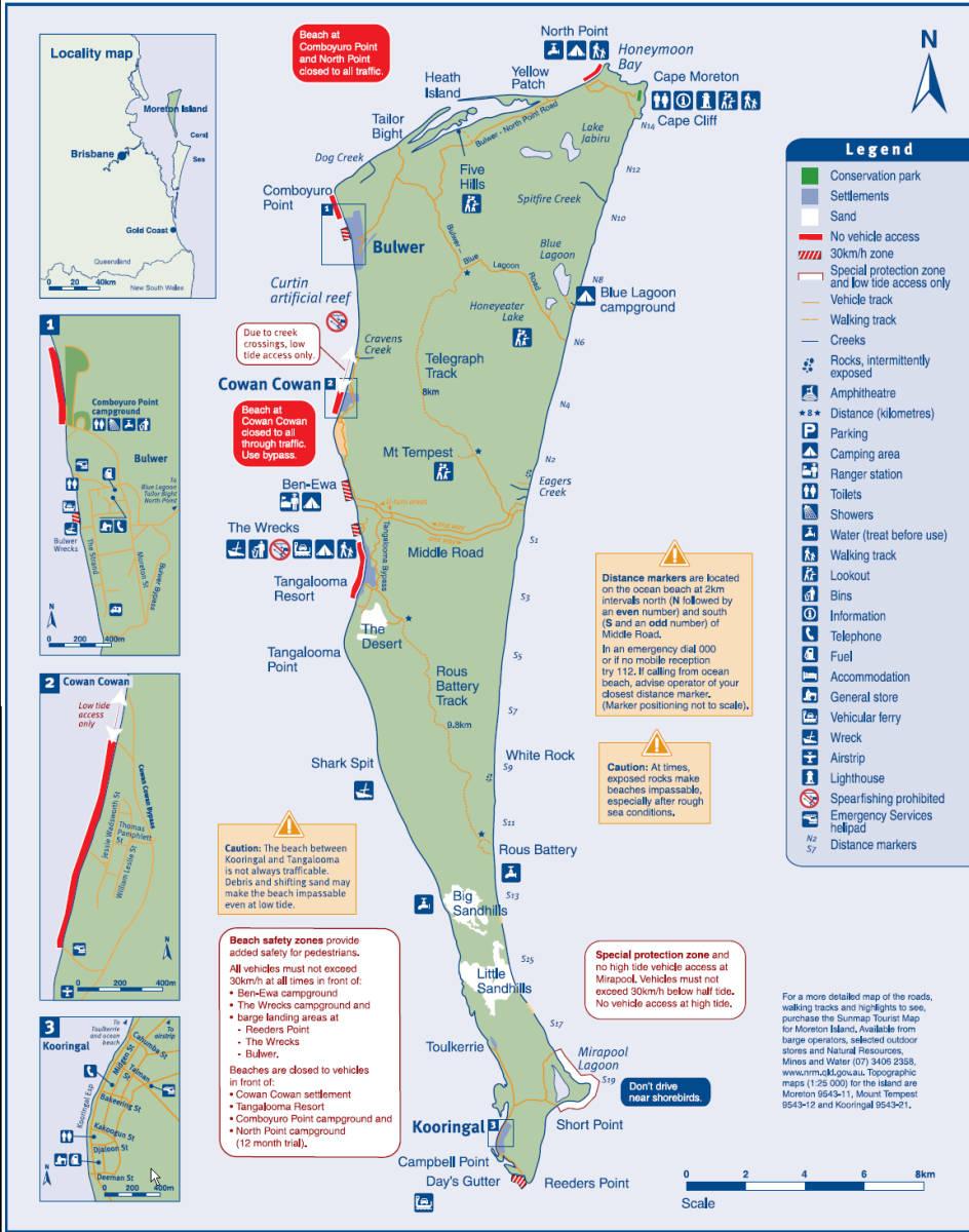 Moreton Island Reefs Map